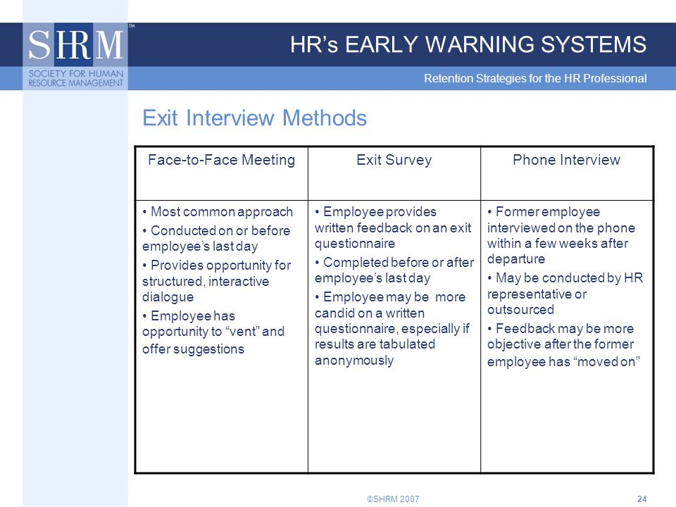 ©SHRM 200724 HR's EARLY WARNING SYSTEMS Retention Strategies for the HR Professional Exit Interview Methods Face-to-Face MeetingExit SurveyPhone Interview Most common approach Conducted on or before employee's last day Provides opportunity for structured, interactive dialogue Employee has opportunity to vent and offer suggestions Employee provides written feedback on an exit questionnaire Completed before or after employee's last day Employee may be more candid on a written questionnaire, especially if results are tabulated anonymously Former employee interviewed on the phone within a few weeks after departure May be conducted by HR representative or outsourced Feedback may be more objective after the former employee has moved on