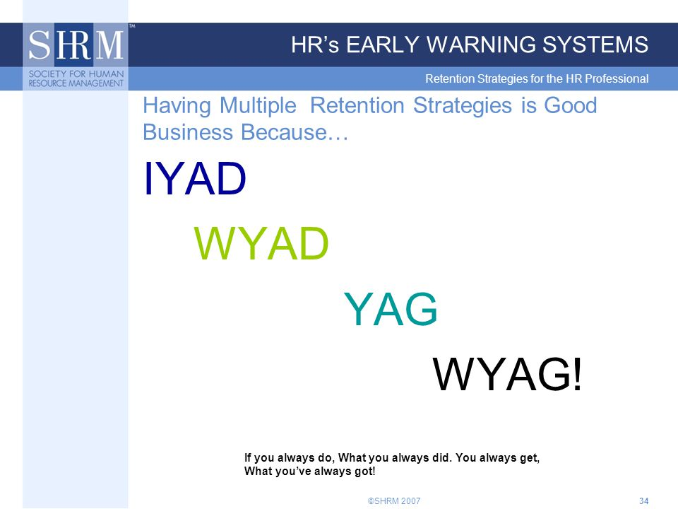 ©SHRM 200734 HR's EARLY WARNING SYSTEMS Retention Strategies for the HR Professional Having Multiple Retention Strategies is Good Business Because… IYAD WYAD YAG WYAG.