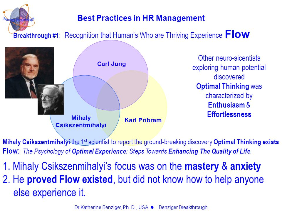 Breakthrough #1 : Recognition that Human's Who are Thriving Experience Flow Other neuro-sicentists exploring human potential discovered Optimal Thinking was characterized by Enthusiasm & Effortlessness Mihaly Csikszentmihalyi the 1 st scientist to report the ground-breaking discovery Optimal Thinking exists Flow: The Psychology of Optimal Experience : Steps Towards Enhancing The Quality of Life.