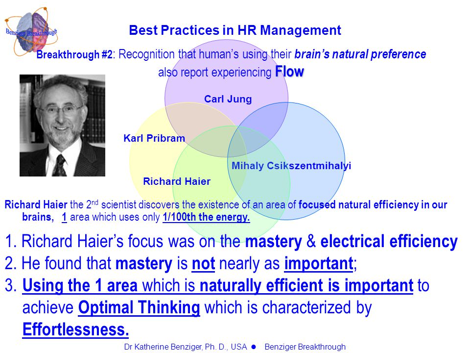 Carl Jung Karl Pribram Mihaly Csikszentmihalyi Richard Haier Breakthrough #2 : Recognition that human's using their brain's natural preference Flow also report experiencing Flow Best Practices in HR Management Dr Katherine Benziger, Ph.