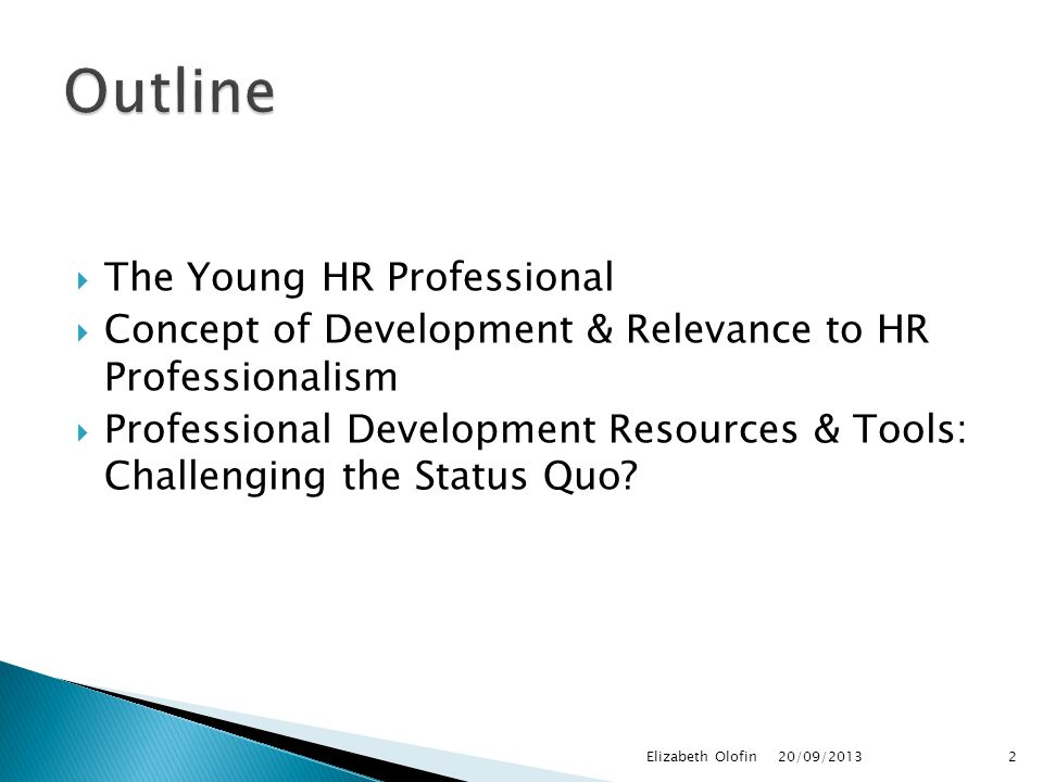  The Young HR Professional  Concept of Development & Relevance to HR Professionalism  Professional Development Resources & Tools: Challenging the Status Quo.