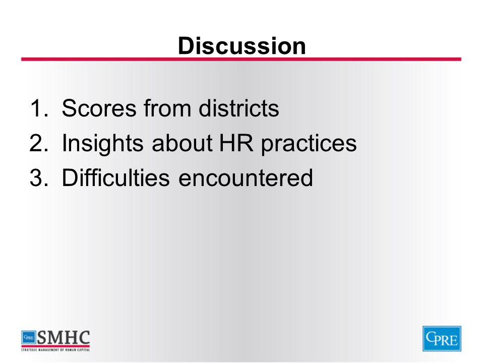 Discussion 1.Scores from districts 2.Insights about HR practices 3.Difficulties encountered