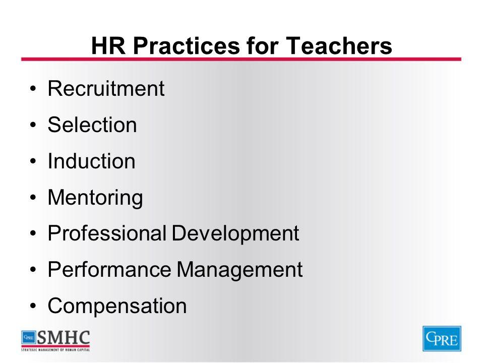 HR Practices for Teachers Recruitment Selection Induction Mentoring Professional Development Performance Management Compensation