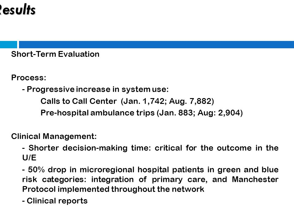 Results Short-Term Evaluation Process: - Progressive increase in system use: Calls to Call Center (Jan.