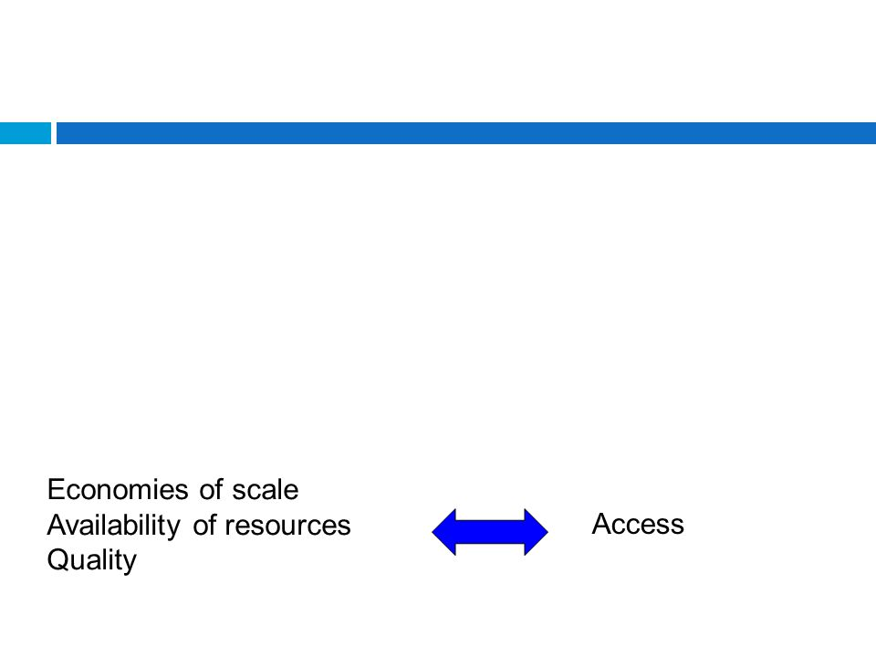 Economies of scale Availability of resources Quality Access