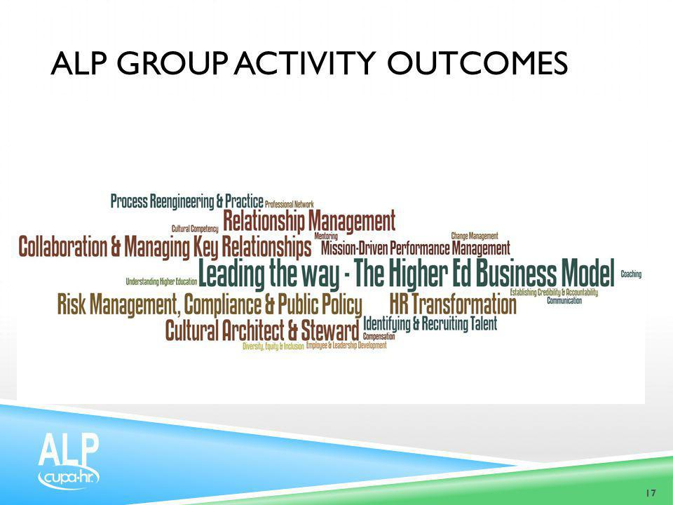 17 ALP GROUP ACTIVITY OUTCOMES