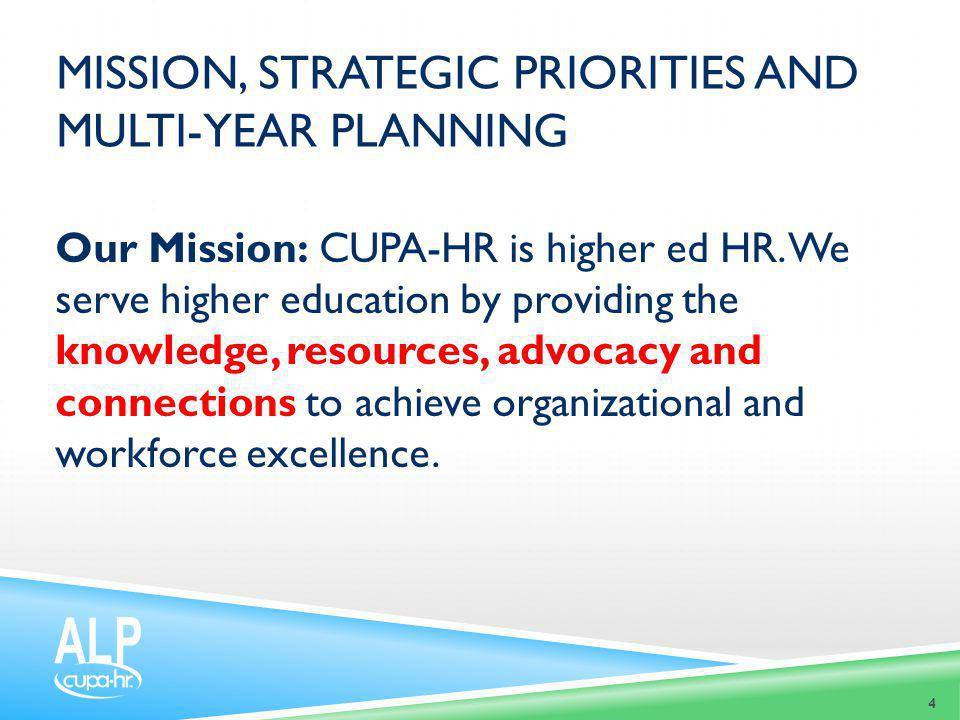 MISSION, STRATEGIC PRIORITIES AND MULTI-YEAR PLANNING Our Mission: CUPA-HR is higher ed HR. We serve higher education by providing the knowledge, reso