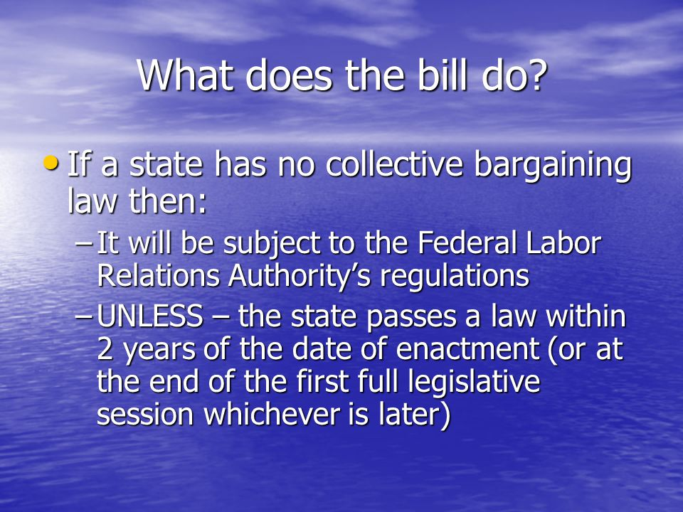 What does the bill do.