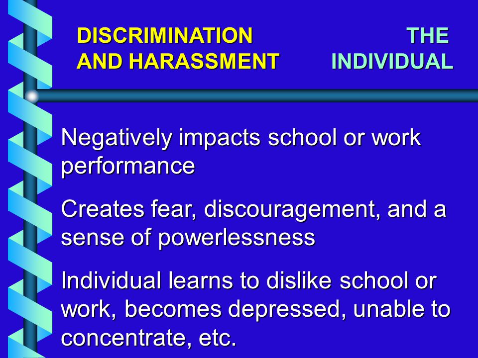 DISCRIMINATION AND HARASSMENT Negatively impacts school or work performance Creates fear, discouragement, and a sense of powerlessness Individual learns to dislike school or work, becomes depressed, unable to concentrate, etc.