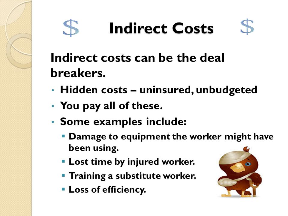 Direct Costs Are just the tip of the iceberg. Insurance pays most of these costs. The total annual direct cost of workplace injuries was $51.8 billion
