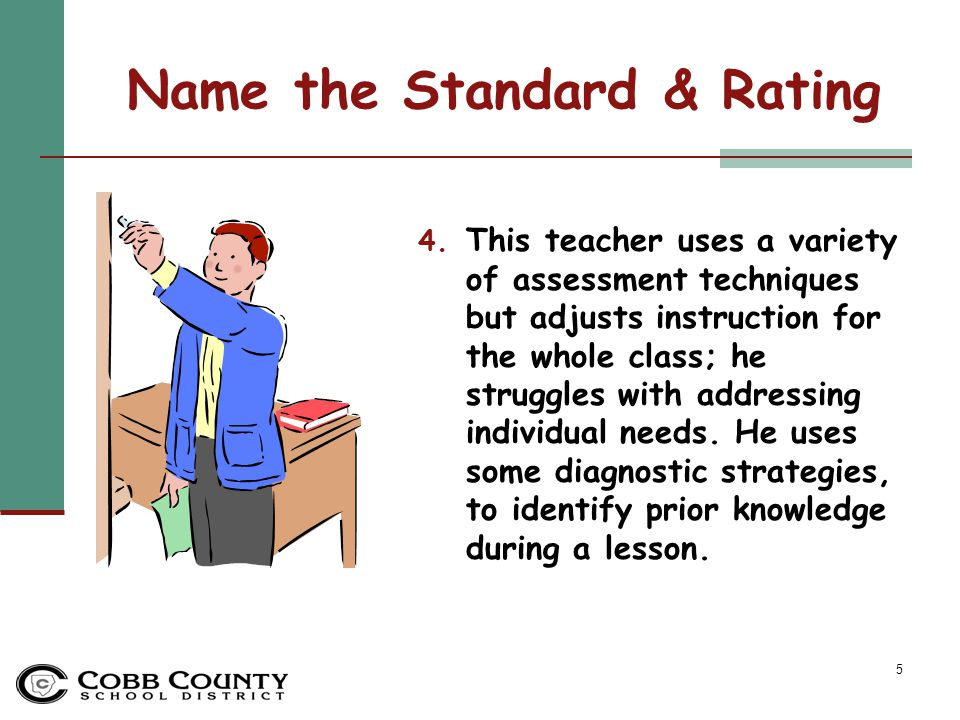 16 Standards-Based Instruction Standard Rating: Not Evident #3