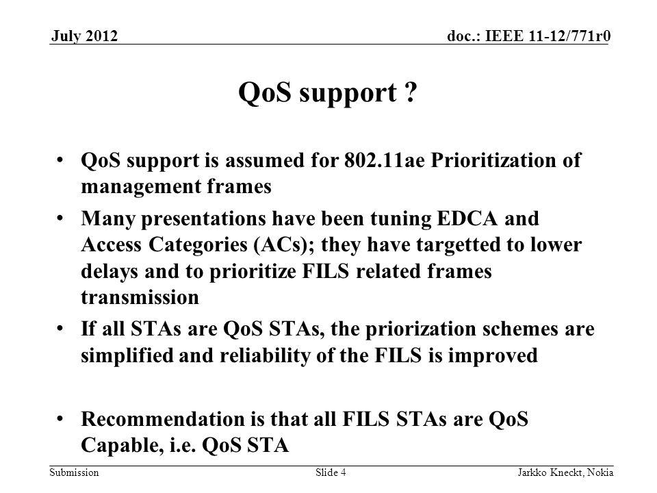Submission doc.: IEEE 11-12/771r0July 2012 Jarkko Kneckt, NokiaSlide 4 QoS support .