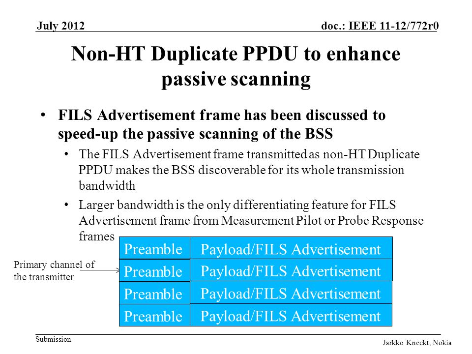 Submission doc.: IEEE 11-12/772r0July 2012 Jarkko Kneckt, Nokia Slide 8 Non-HT Duplicate PPDU to enhance passive scanning FILS Advertisement frame has been discussed to speed-up the passive scanning of the BSS The FILS Advertisement frame transmitted as non-HT Duplicate PPDU makes the BSS discoverable for its whole transmission bandwidth Larger bandwidth is the only differentiating feature for FILS Advertisement frame from Measurement Pilot or Probe Response frames Payload/FILS Advertisement Primary channel of the transmitter Preamble