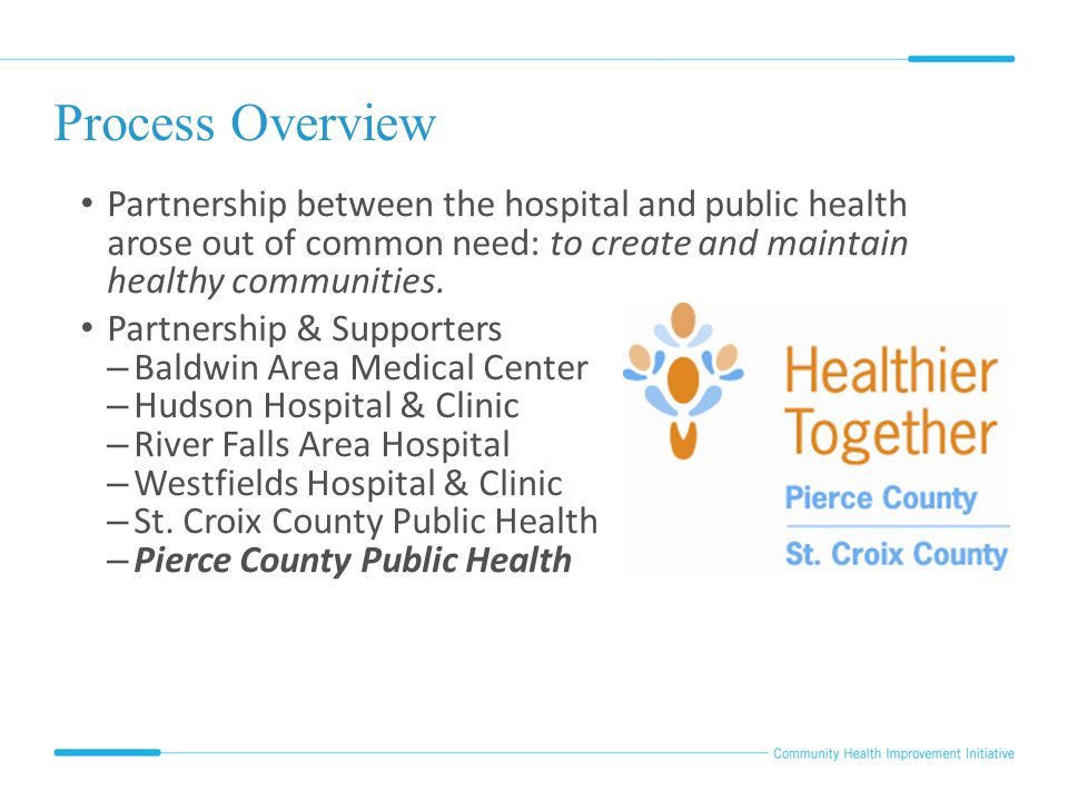 Process Overview Partnership between the hospital and public health arose out of common need: to create and maintain healthy communities. Partnership