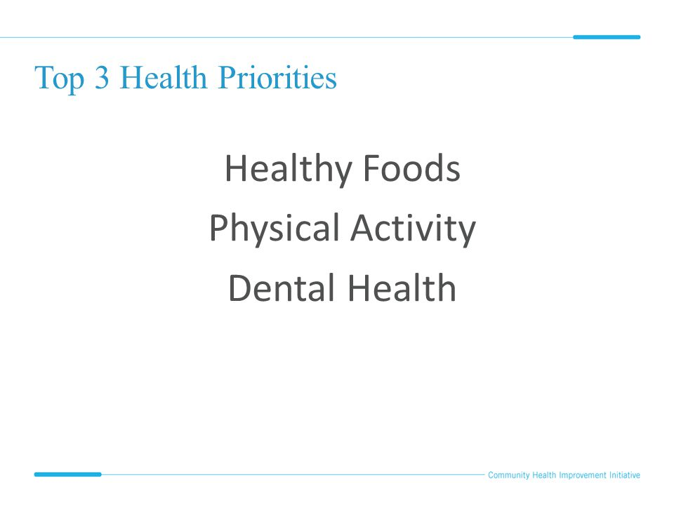 Top 3 Health Priorities Healthy Foods Physical Activity Dental Health