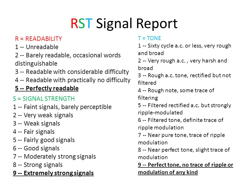 RST Signal Report T = TONE 1 -- Sixty cycle a.c. or less, very rough and broad 2 -- Very rough a.c., very harsh and broad 3 -- Rough a.c. tone, rectif