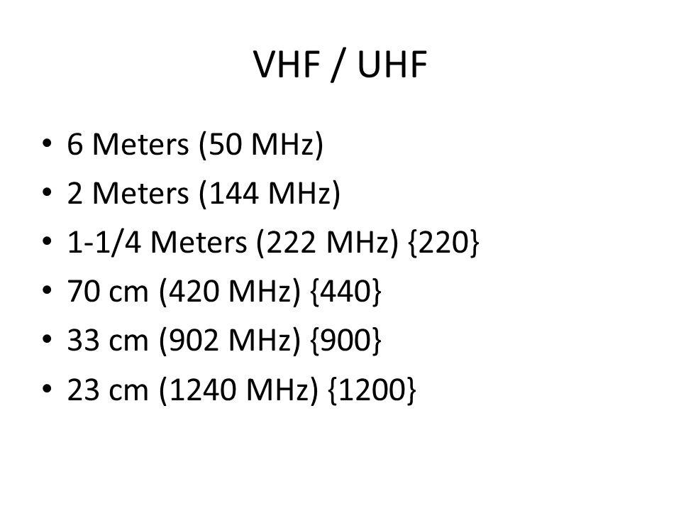 VHF / UHF 6 Meters (50 MHz) 2 Meters (144 MHz) 1-1/4 Meters (222 MHz) {220} 70 cm (420 MHz) {440} 33 cm (902 MHz) {900} 23 cm (1240 MHz) {1200}