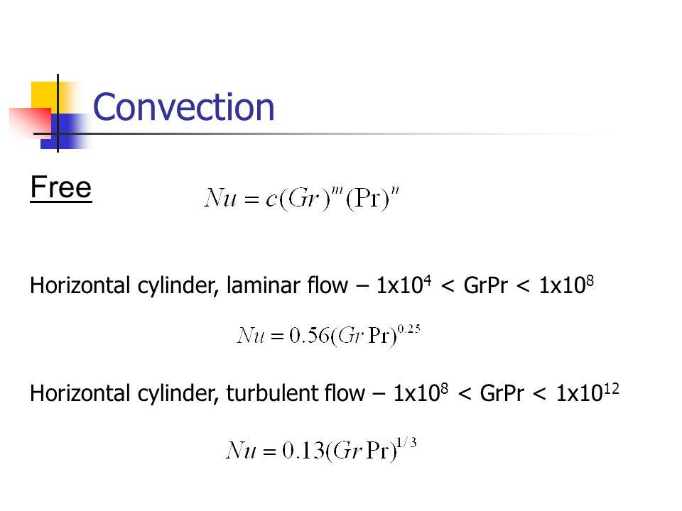 Convection Free Horizontal cylinder, laminar flow – 1x10 4 < GrPr < 1x10 8 Horizontal cylinder, turbulent flow – 1x10 8 < GrPr < 1x10 12