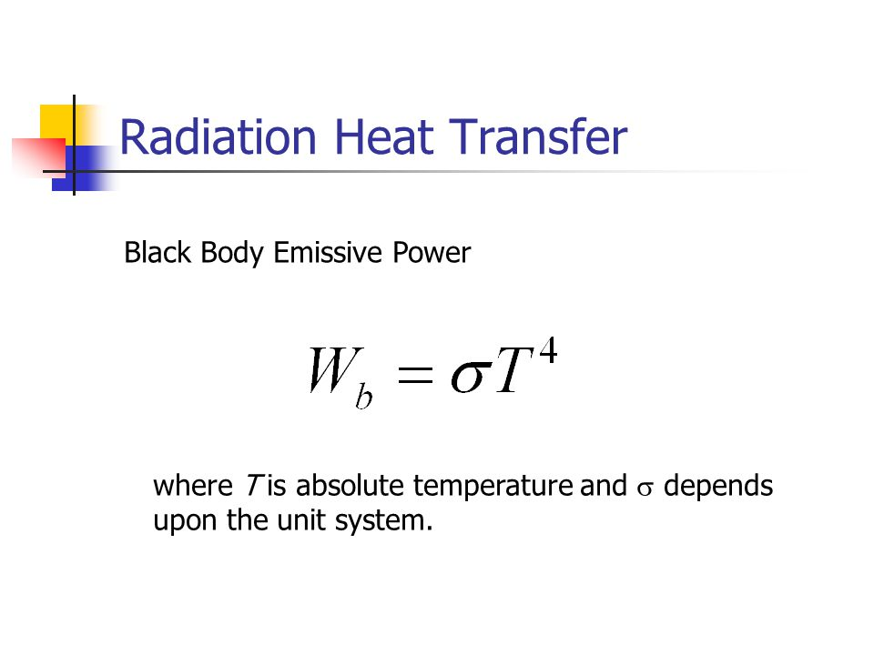 Radiation Heat Transfer Black Body Emissive Power where T is absolute temperature and  depends upon the unit system.