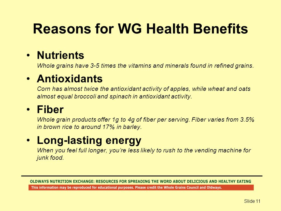 Slide 11 Reasons for WG Health Benefits Nutrients Whole grains have 3-5 times the vitamins and minerals found in refined grains. Antioxidants Corn has