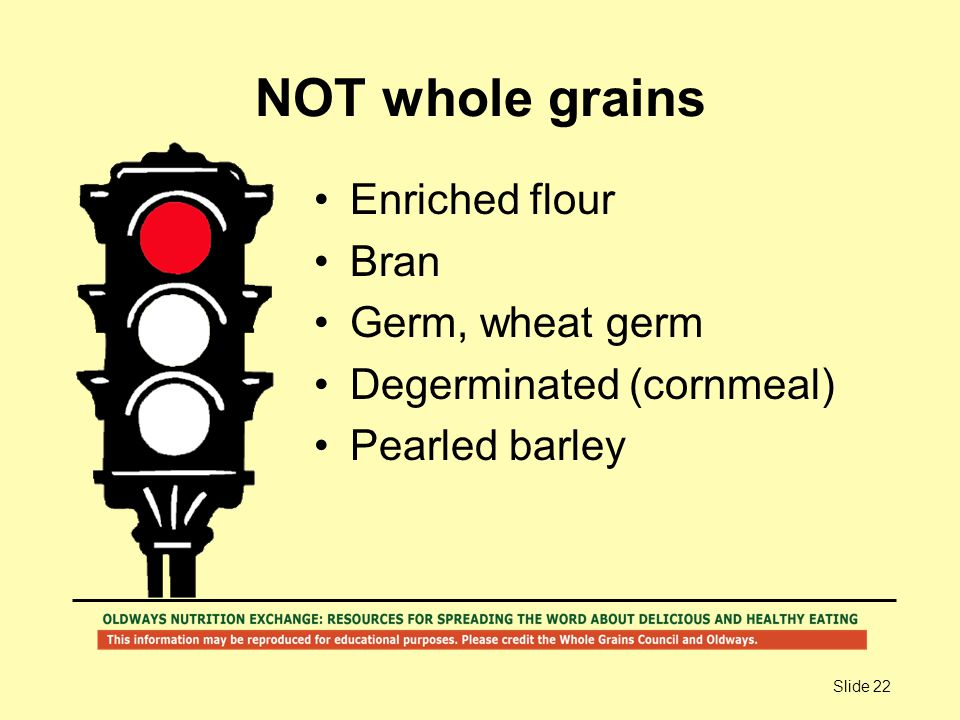 Slide 22 NOT whole grains Enriched flour Bran Germ, wheat germ Degerminated (cornmeal) Pearled barley