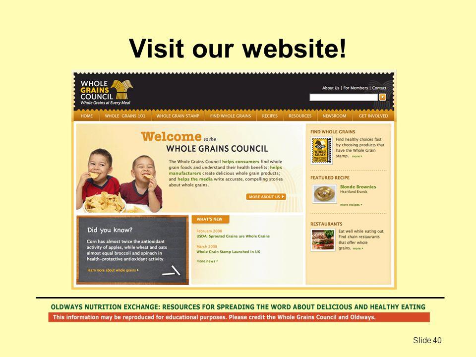 Slide 40 Visit our website!