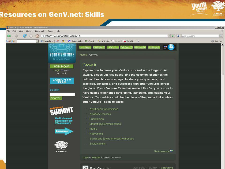 Resources on GenV.net: Skills