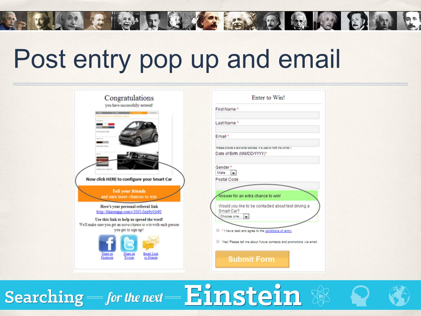 Post entry pop up and email