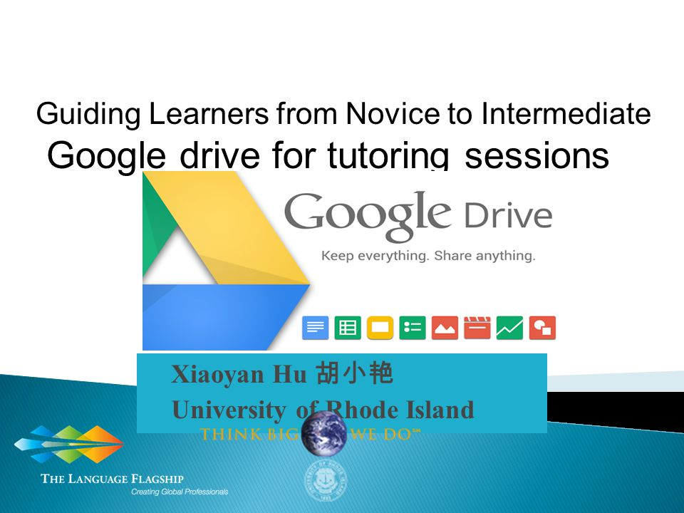 Xiaoyan Hu 胡小艳 University of Rhode Island Guiding Learners from Novice to Intermediate Google drive for tutoring sessions