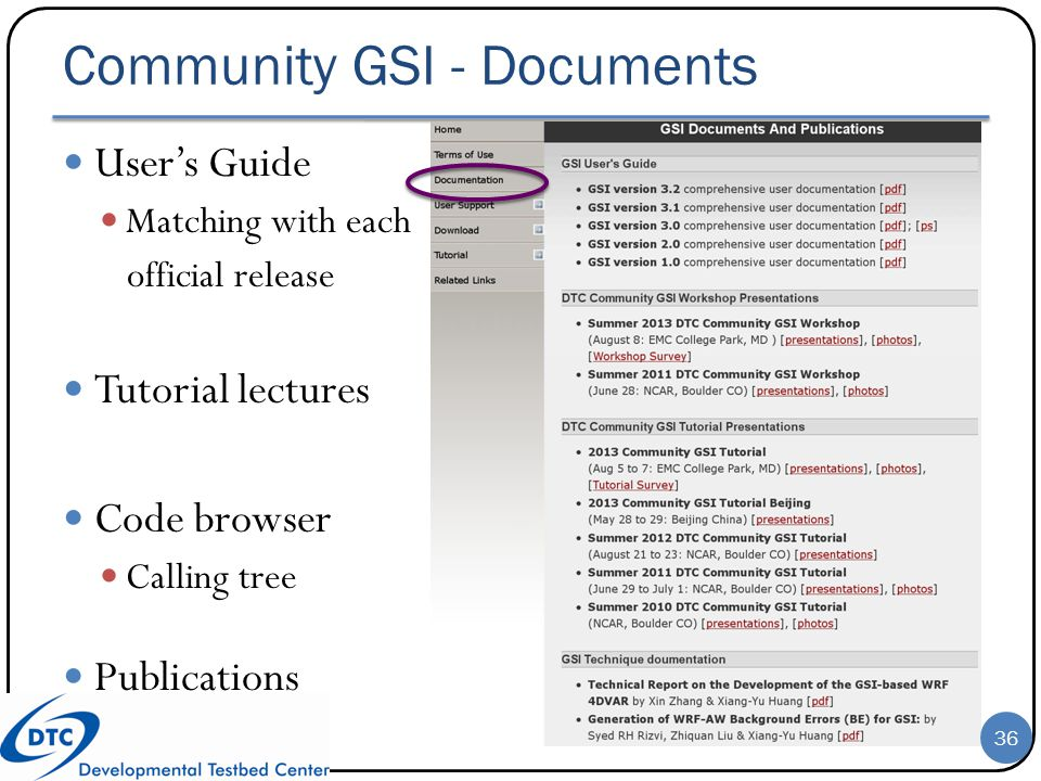 Community GSI - Documents User's Guide Matching with each official release Tutorial lectures Code browser Calling tree Publications 36