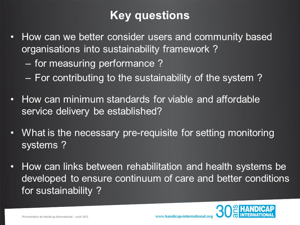 How can we better consider users and community based organisations into sustainability framework .