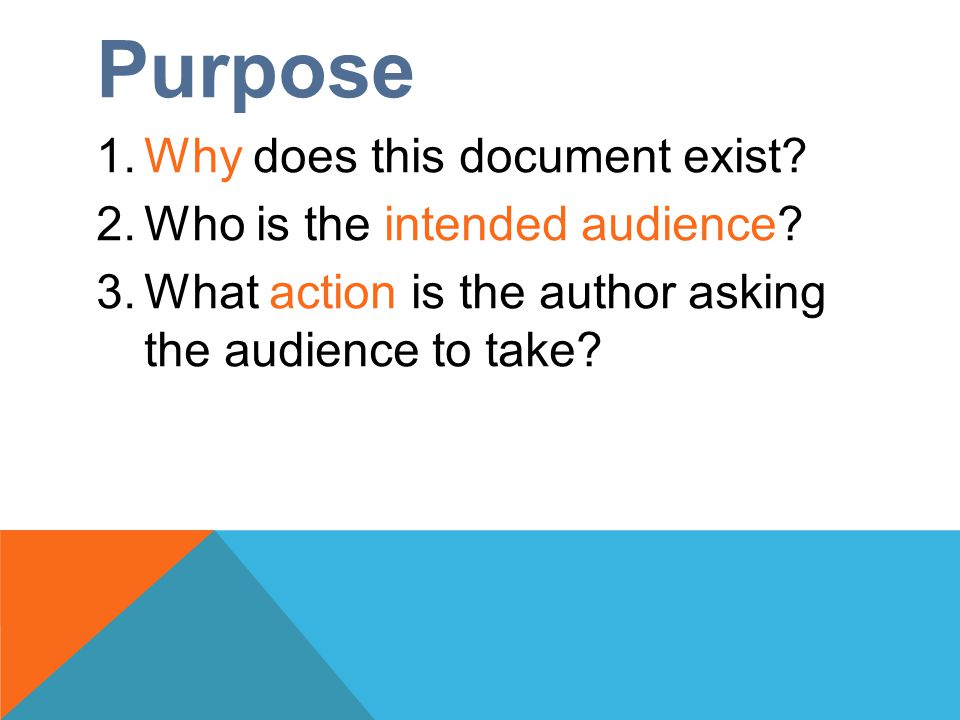 Purpose 1.Why does this document exist. 2.Who is the intended audience.