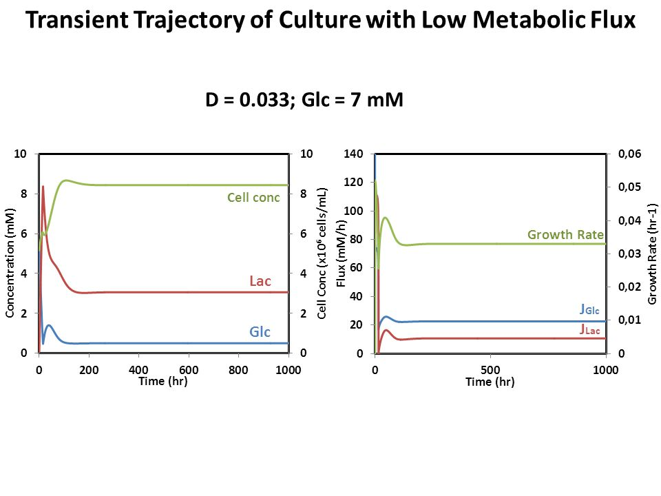 Lac Glc Cell conc J Lac Growth Rate J Glc Transient Trajectory of Culture with Low Metabolic Flux D = 0.033; Glc = 7 mM