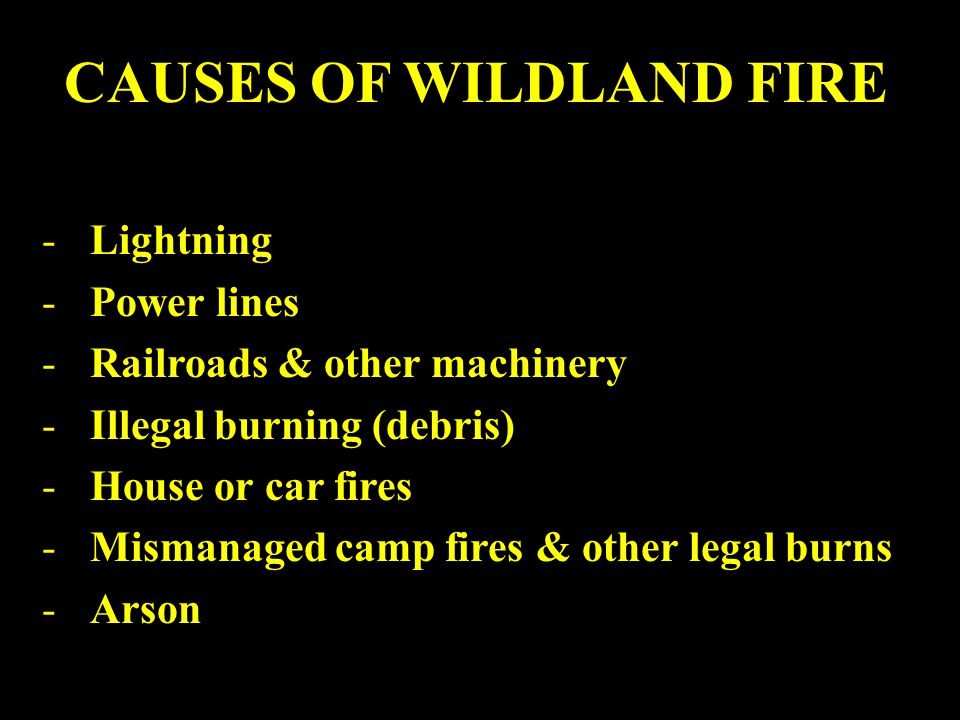 CAUSES OF WILDLAND FIRE -Lightning -Power lines -Railroads & other machinery -Illegal burning (debris) -House or car fires -Mismanaged camp fires & other legal burns -Arson