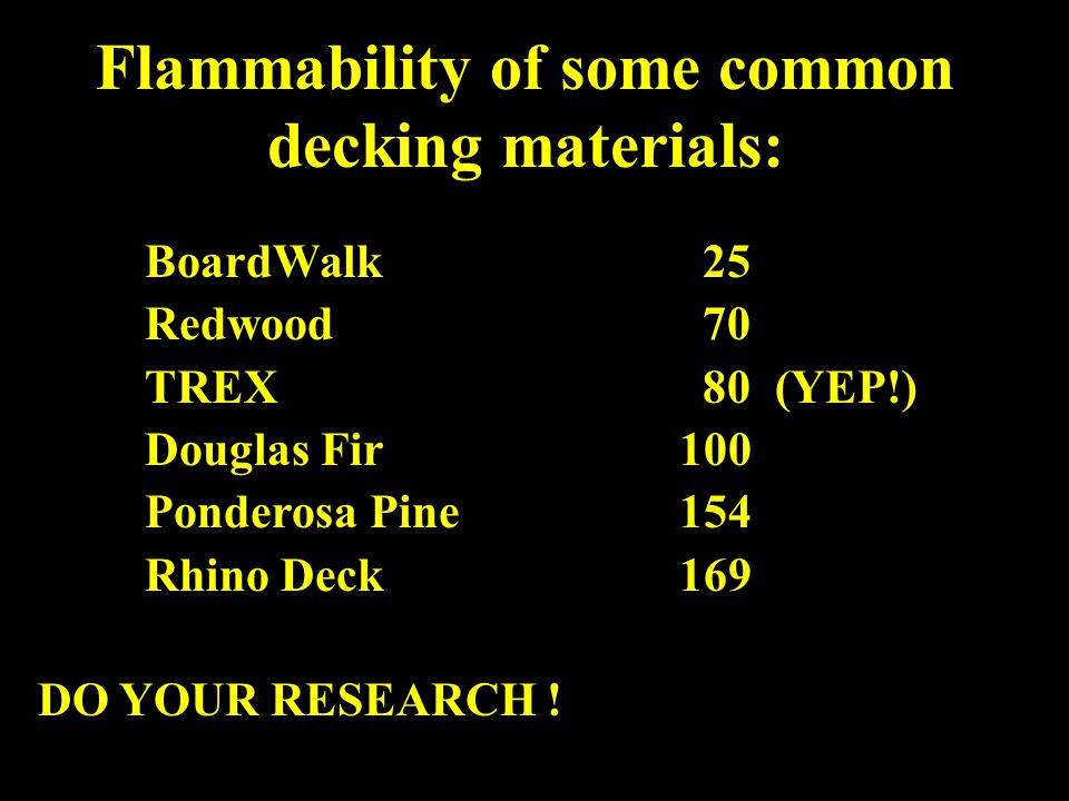 Flammability of some common decking materials: BoardWalk 25 Redwood 70 TREX 80 (YEP!) Douglas Fir100 Ponderosa Pine154 Rhino Deck169 DO YOUR RESEARCH !