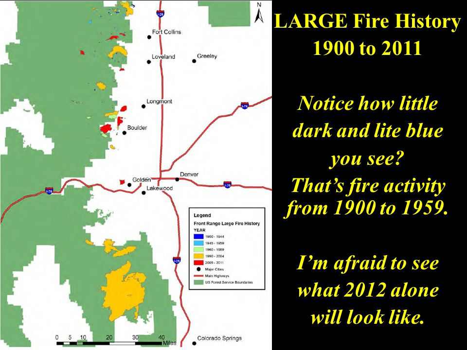 master Front Range fire numbers have increased by 500% over the last 4-decades.