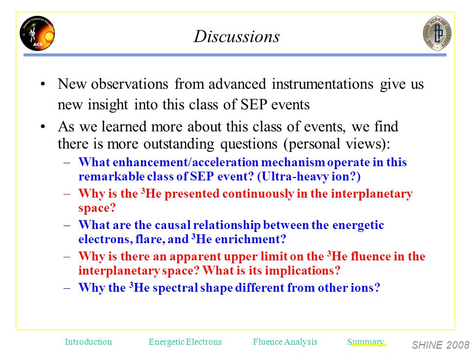 SHINE 2008 Introduction Energetic ElectronsFluence AnalysisSummary Discussions New observations from advanced instrumentations give us new insight into this class of SEP events As we learned more about this class of events, we find there is more outstanding questions (personal views): –What enhancement/acceleration mechanism operate in this remarkable class of SEP event.