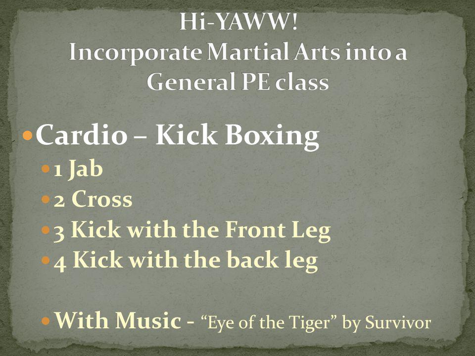 "Cardio – Kick Boxing 1 Jab 2 Cross 3 Kick with the Front Leg 4 Kick with the back leg With Music - ""Eye of the Tiger"" by Survivor"