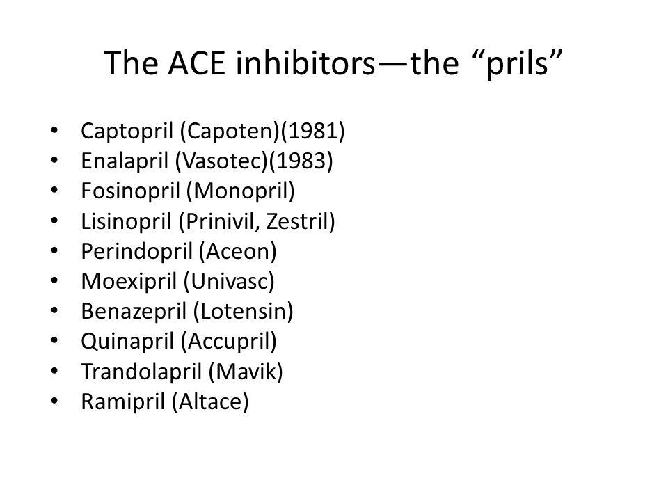 """The ACE inhibitors—the """"prils"""" Captopril (Capoten)(1981) Enalapril (Vasotec)(1983) Fosinopril (Monopril) Lisinopril (Prinivil, Zestril) Perindopril (A"""
