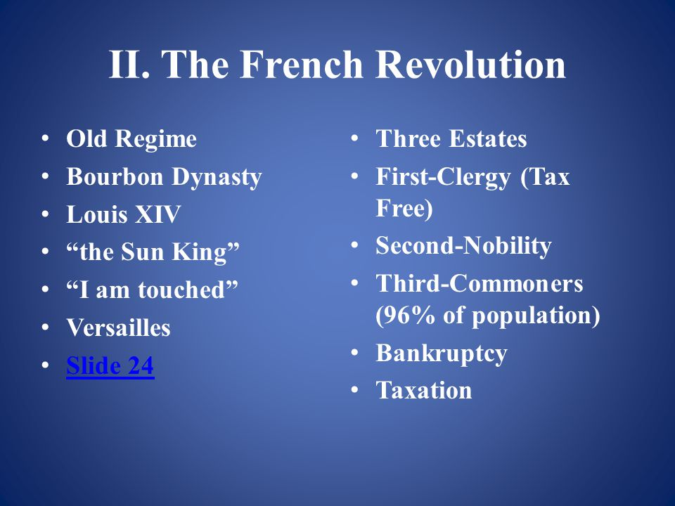 """II. The French Revolution Old Regime Bourbon Dynasty Louis XIV """"the Sun King"""" """"I am touched"""" Versailles Slide 24 Three Estates First-Clergy (Tax Free)"""