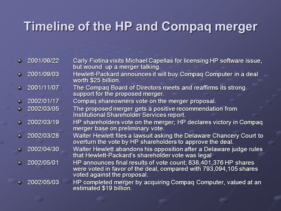 Timeline of the HP and Compaq merger 2001/06/22Carly Fiotina visits Michael Capellas for licensing HP software issue, but wound up a merger talking. 2