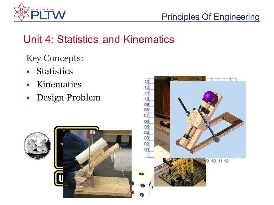 Unit 4: Statistics and Kinematics Principles Of Engineering Key Concepts: Statistics Kinematics Design Problem