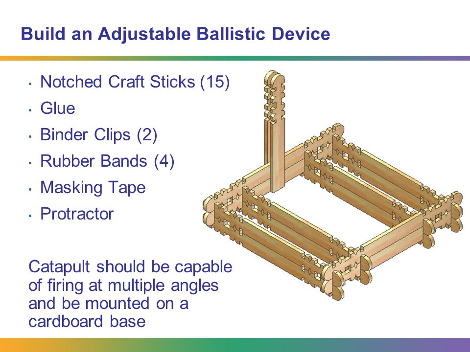 Build an Adjustable Ballistic Device Notched Craft Sticks (15) Glue Binder Clips (2) Rubber Bands (4) Masking Tape Protractor Catapult should be capab