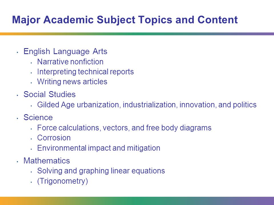 Major Academic Subject Topics and Content English Language Arts Narrative nonfiction Interpreting technical reports Writing news articles Social Studies Gilded Age urbanization, industrialization, innovation, and politics Science Force calculations, vectors, and free body diagrams Corrosion Environmental impact and mitigation Mathematics Solving and graphing linear equations (Trigonometry)