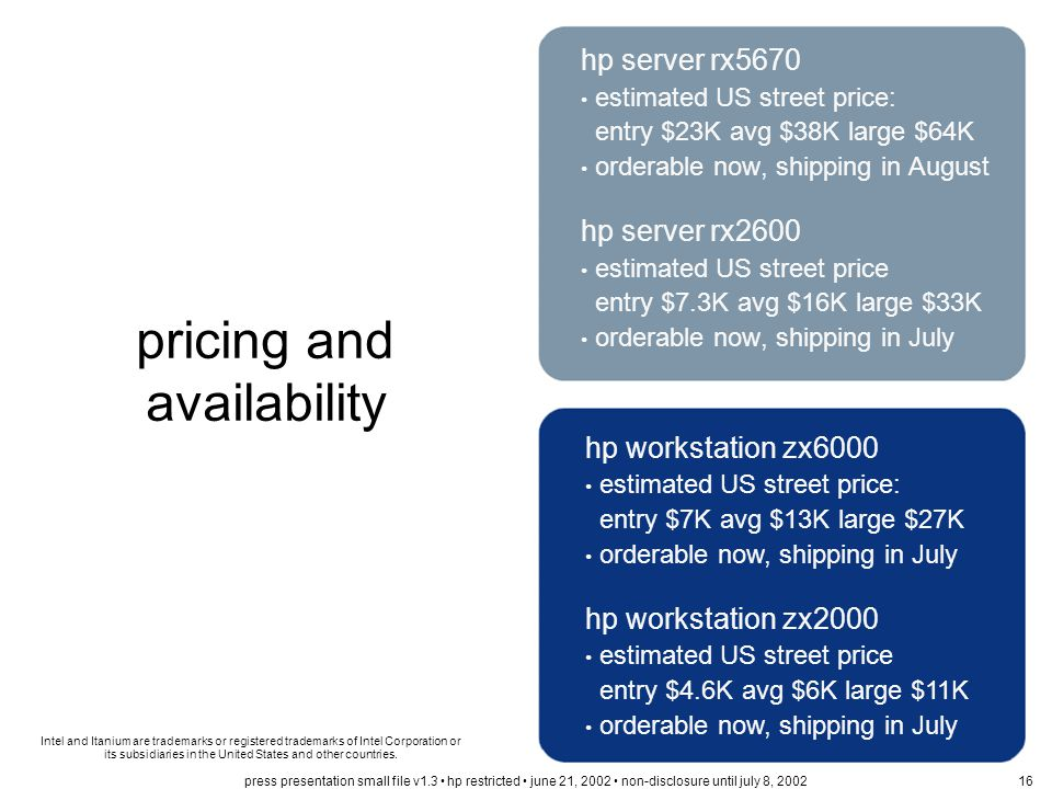 pricing and availability hp server rx5670 estimated US street price: entry $23K avg $38K large $64K orderable now, shipping in August hp server rx2600