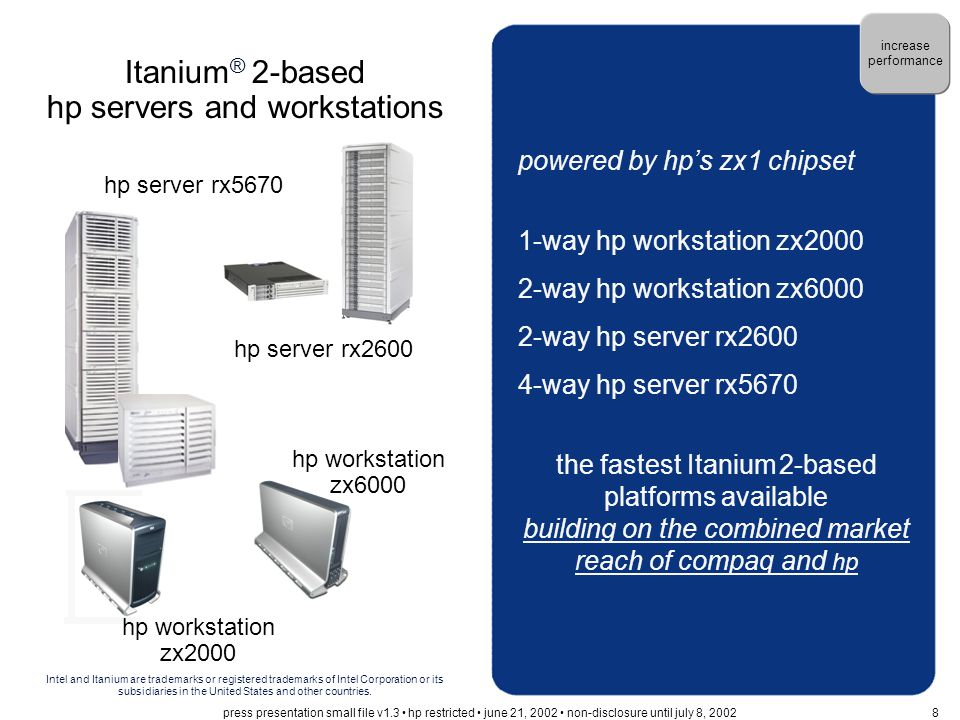 powered by hp's zx1 chipset 1-way hp workstation zx2000 2-way hp workstation zx6000 2-way hp server rx2600 4-way hp server rx5670 the fastest Itanium