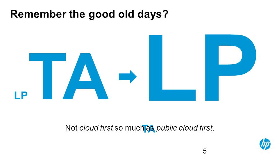 Remember the good old days? LP TA 5 Not cloud first so much as public cloud first.