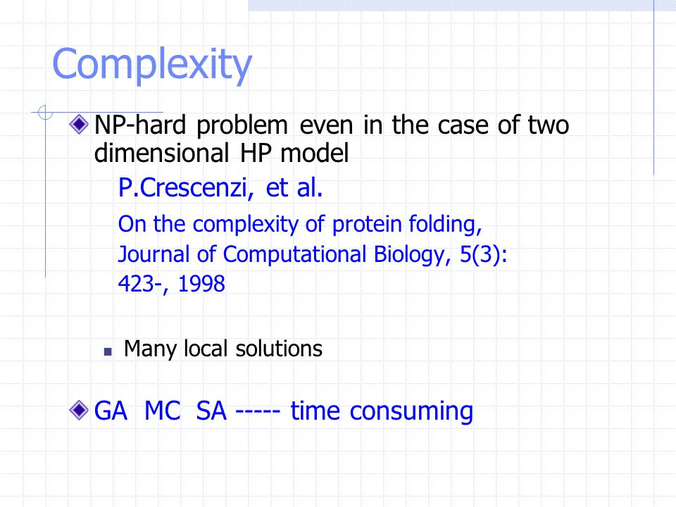 Complexity NP-hard problem even in the case of two dimensional HP model P.Crescenzi, et al. On the complexity of protein folding, Journal of Computati