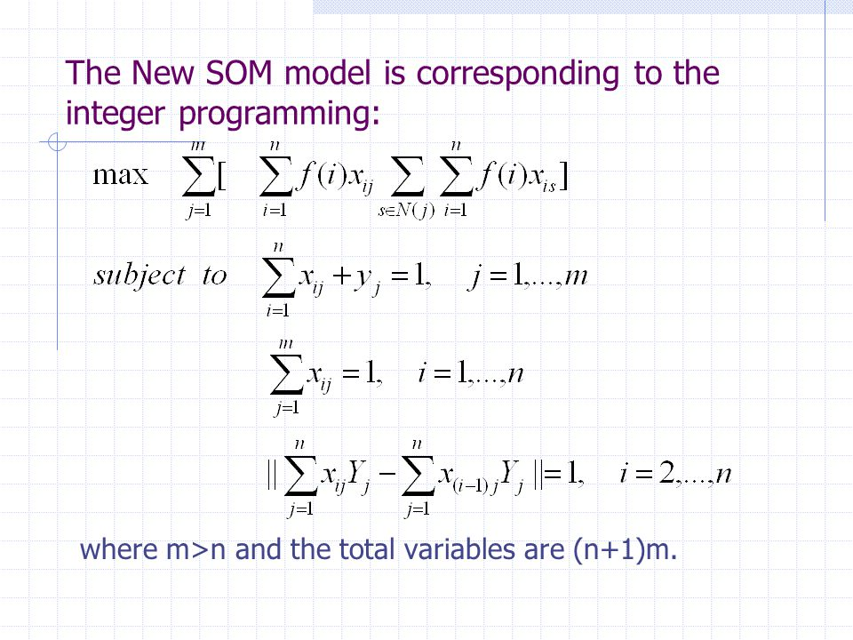 The New SOM model is corresponding to the integer programming: where m>n and the total variables are (n+1)m.