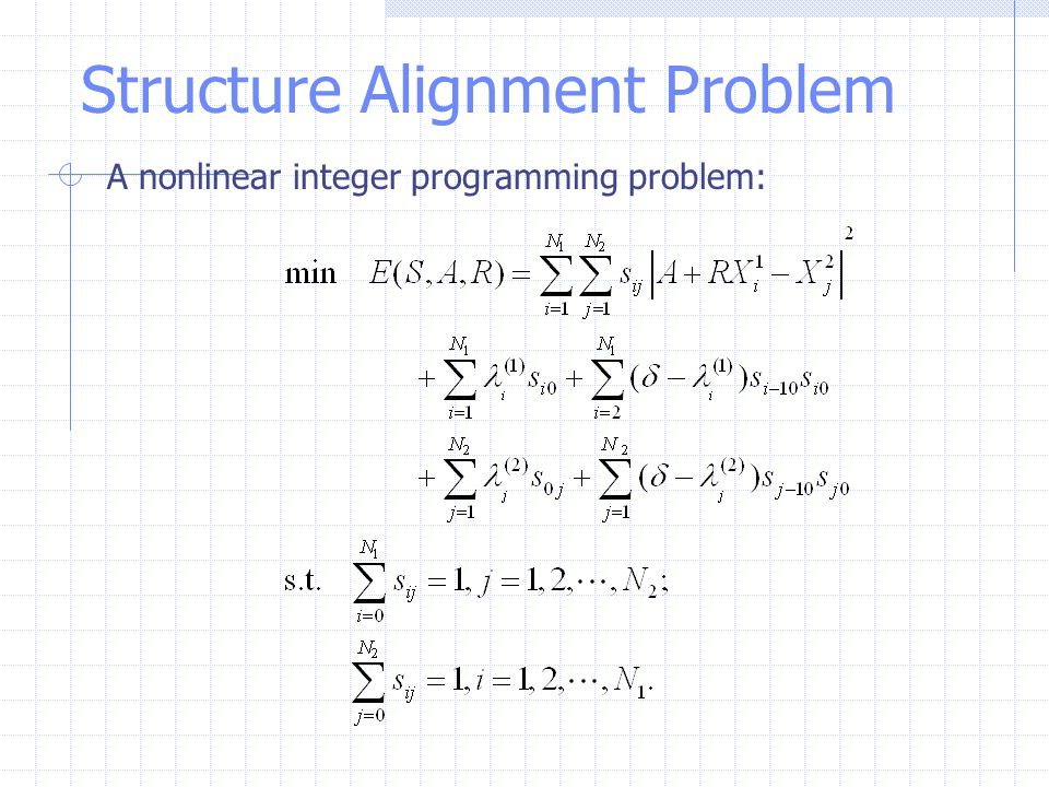 Structure Alignment Problem A nonlinear integer programming problem: